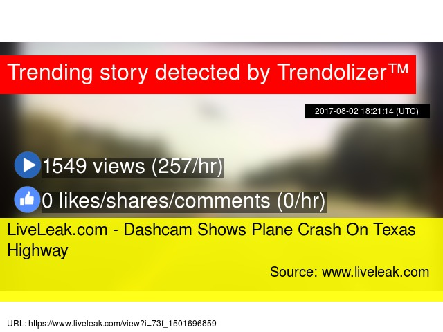 LiveLeak com - Dashcam Shows Plane Crash On Texas Highway